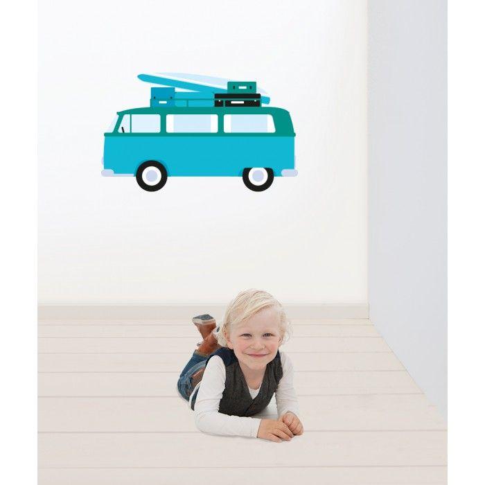 Muursticker bus surfplank | Blauw