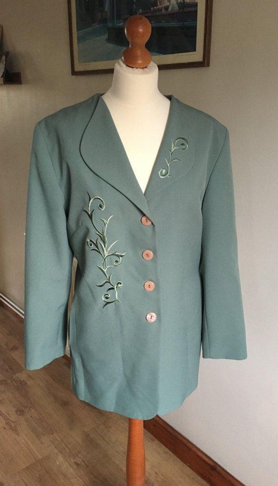 vintage tailor jacket  1940s style  pale green  plus size
