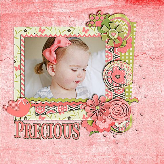 Digital Scrapbooking: Hannah Mega Digital Scrapbook Kit (Coral Pink, Green, Brown), Instant Download