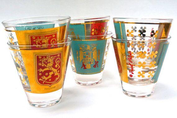 Atomic Era Fred Press Shot Glasses  by MidniteGalaxyVintage #fredpress #midcentury #1960s #sixties #madmen #finland #spain #shotglasses #vintage #vintagehome #vintagebarware #retro #retrohome