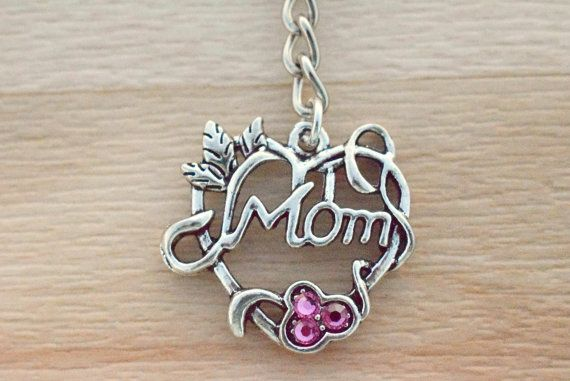 Mom Keychain - Birthstone Keychain - Silver Keychain - Gifts For Mom - Mothers Day Gift