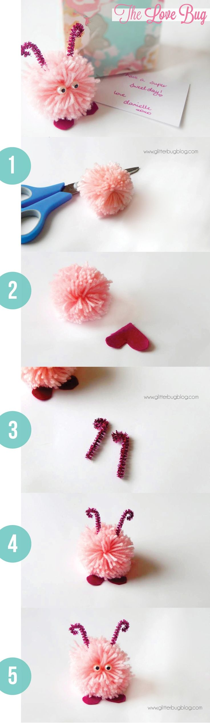 How to make a sweet love pom pom bug for Valentine's Day.