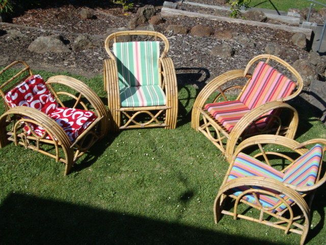 Original Retro 5 Band Pretzel Bamboo / Cane Midcentury Outdoor Chairs For Sale