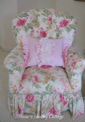 Sissie's Shabby Cottage This is the same shape as my living room chair I just ordered.