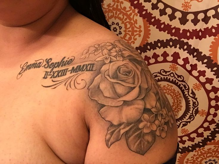 Her name her birthday in Roman numerals her months flower with two roses