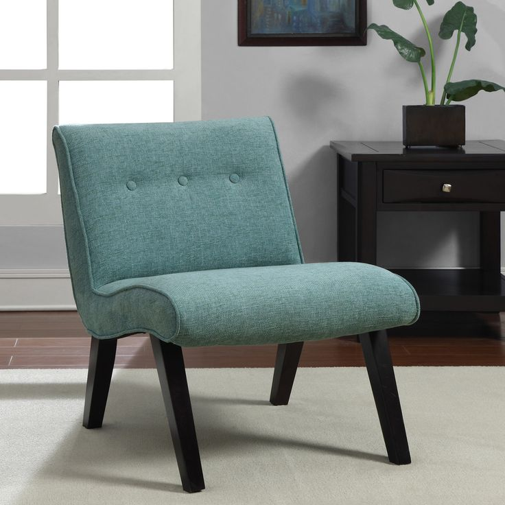 Best Aqua Armless Tufted Back Chair Blue Fabric Design 640 x 480