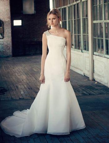 Bridal Gowns: Michelle Roth A-Line Wedding Dress with Asymmetric Neckline and No Waist/Princess Seams Waistline