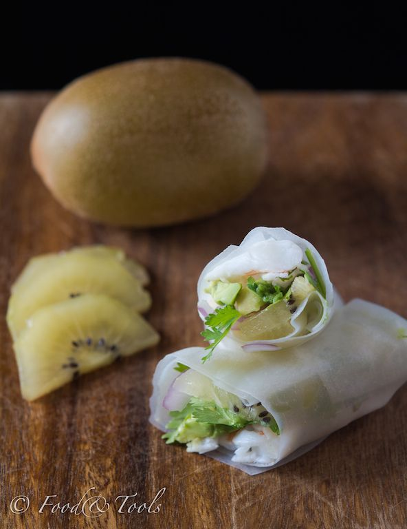 Zespri SunGold Kiwifruti and Healthy Shrimp and Kiwi Rolls http://chopinandmysaucepan.com/day-11-get-your-jelly-on-green-and-gold-kiwifruit-pavlova