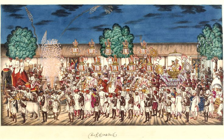 Marriage procession through the bazaar at night preceded by an elephant and fireworks. Tanjore, c.1830.
