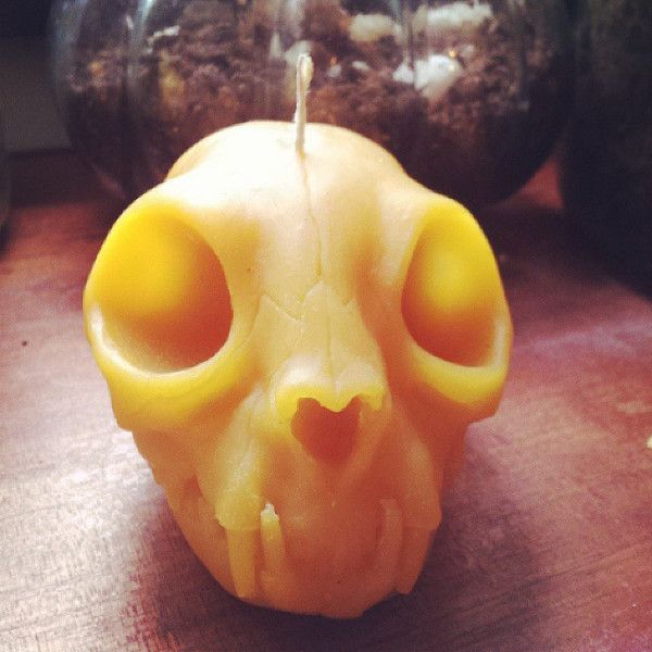 Cat Skull Candle - (Beeswax, Soy and Paraffin). Design to look cool while burning. Skull melts in and eyes flicker. BUY NOW. nickule.com