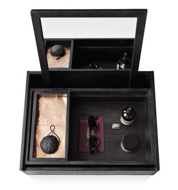 Balsaboxen fra Nomess Copenhagen kan holde styr på alle dine yndlings cremer, makeup og parfumer.   Den er smuk og gennemtænkt den personlige box/make-up boxen fra Nomess. Når boxen ikke er i brug, står den som en smuk træ-æske med låg. Låget fungerer som spejl, og der er masser af rum til at organisere tingene i. Boxen kan udnyttes både som transportabelt make-up bord eller til at organisere diverse ting og sager i. Utrolig smuk at have stående fremme.  Boxen er i sortbejdset balsatræ med…