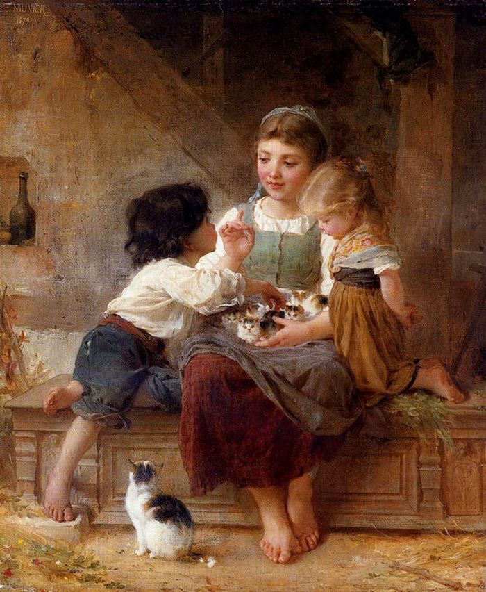 "Emile Munier - ""Children playing with kittens"" Beautiful!"