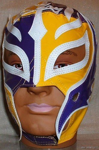 REY MYSTERIO Pro-Grade KIDS Purple/Yellow MASK by Figures Toy Company. $49.99. Brand New Officially Licensed by WWE   WWE SUPERSTAR REY MYSTERIO KIDS SIZE PRO-GRADE MASK   WWE Rey Mysterio KIDS Size Replica Mask   Officially licensed by WWE Made directly from Rey Mysterio's own mask   Fits most kids ages 8 & up   Simulated Leather