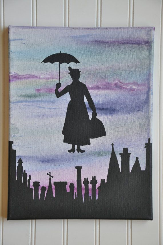 FREE SHIPPING Mary Poppins painting, Mary Poppins silhouette painting, abstract Mary Poppins, Disney painting, Disney decor