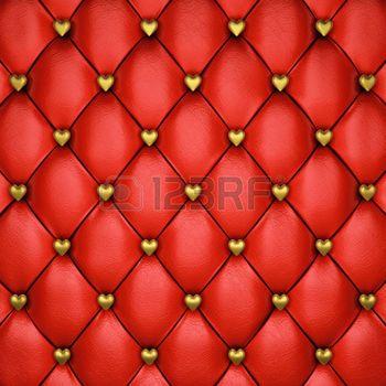 Красный кожаная обивка шаблон с золотым сердцем, 3d иллюстрации photo