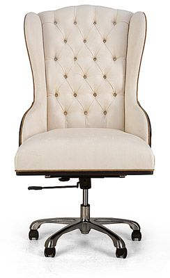 I am going to find a chair that I love, then go to the thrift store to buy a worn office chair for the wheeled base and presto...an awesome office chair.  Repurposing     Tufted desk chair with castors