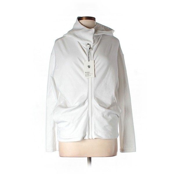 Pre-owned Uniqlo Zip Up Hoodie (€16) ❤ liked on Polyvore featuring tops, hoodies, white, white zip up hoodies, white zip up hoodie, zip up top, white hoodies and uniqlo hoodie