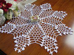 Cento pizzo ad uncinetto centrotavola stella francese fatto a mano cotone bianco chrochet doily nuovo decorazione casa idea regalo di MondoTSK su Etsy