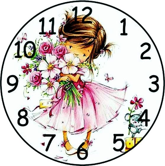 ..little girl clock face