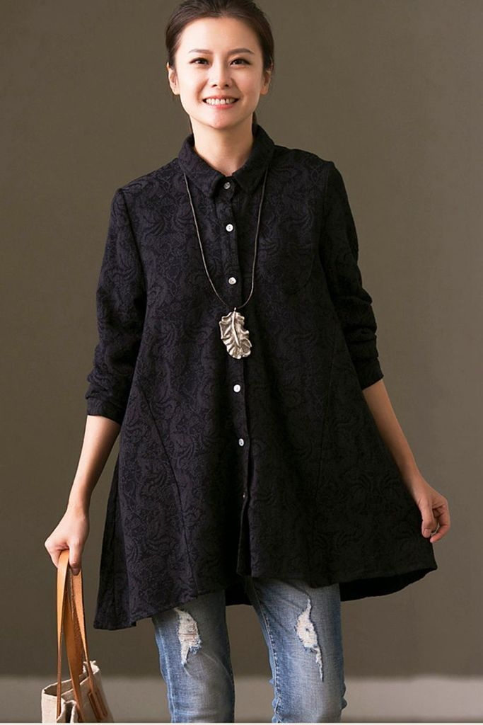 Winter Long Sleeve Black Casual Shirts,Tops For Women
