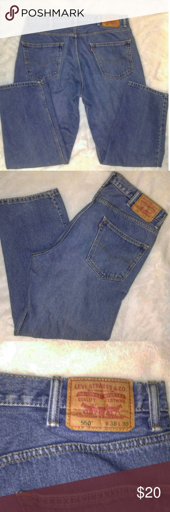 Levi Jeans 550 38x30 Big and Sexy You've got an affinity for a big strong teddy bear lover? The man that wraps you in his arms and you got a nice, warm, plump human pillow. Those winter nights your sexy teddy bear lover keeps you warm and cozy. You keep him well dressed and fattened up, so he won't go anywhere. The only Hoo-hah he needs to be focused on is yours. Well reward that big strong strapping man with some sexy Levi Jeans. Love never felt so warm.  Pre owned Great condition Levi's…