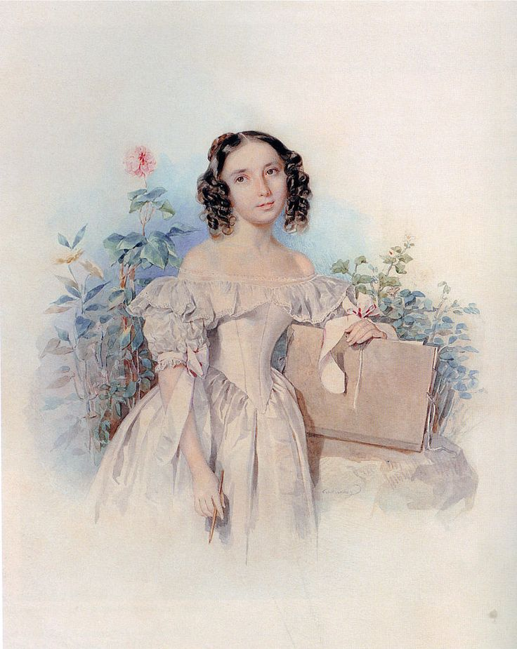 Акварельные портреты Петра Федоровича Соколова   Княжна Елена Васильевна Мещерская (1820- после 1843), с 1842 года жена принца Каликста Бирона (1817-1882)