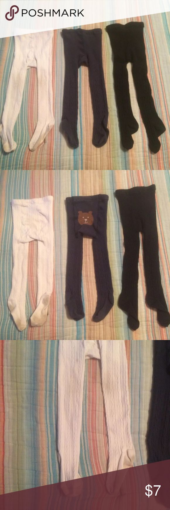 3pair Toddler Tights 2-3 Years, Gap & Old Navy 3pair Toddler Tights 2-3 Years, Gap & Old Navy, light discoloration on legs of white pair and on bottoms of feet. Accessories Socks & Tights