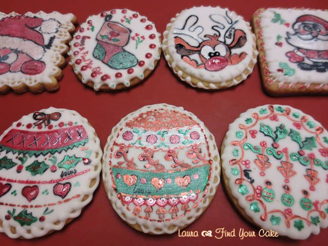 Cake painting #4: Cookies painted with metallic colors - CakesDecor