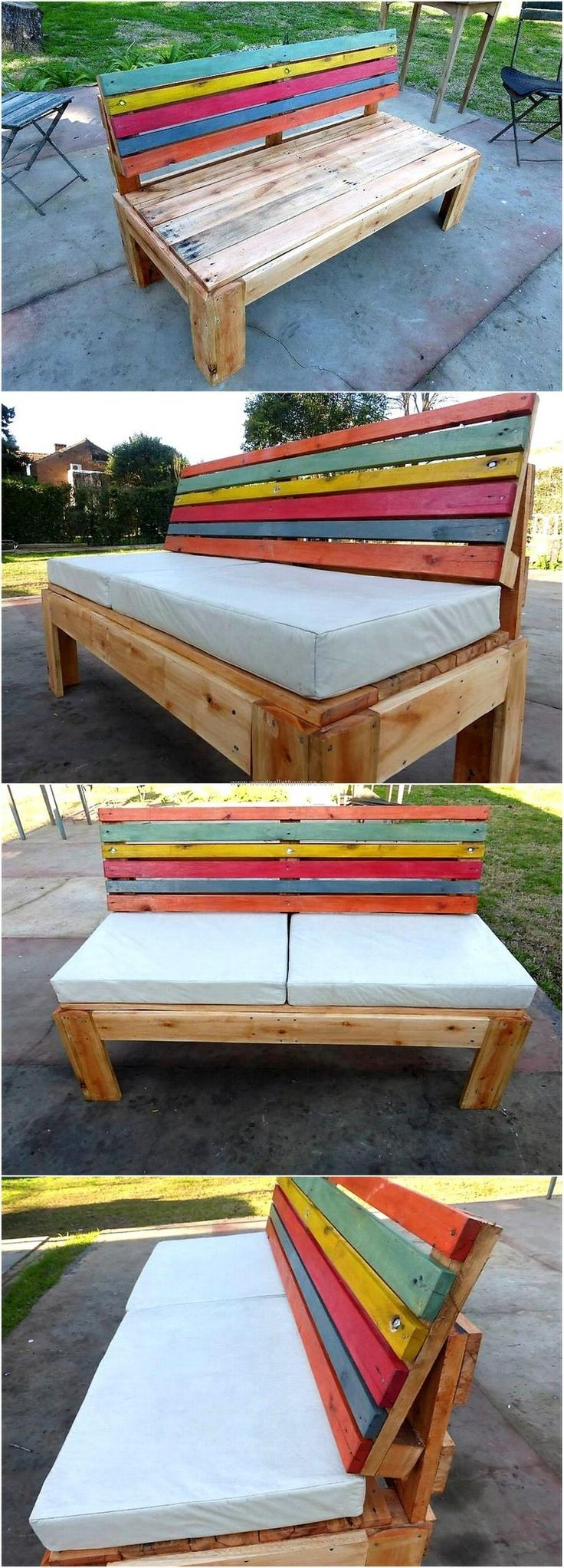 Here is presented the recycled wood pallet bench, which is made colorful by painting the pallets with different funky colors. The pallets on the seating area are not painted which is making the back of the chair look prominent because of multi-shading. The bench can be placed without the foam or with it for the comfortable seating.