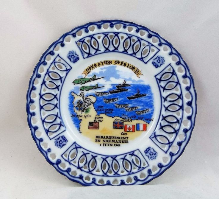 Operation Overlord Ceramic Dish Ash Tray Debarquement Normandie France 1944 WWII