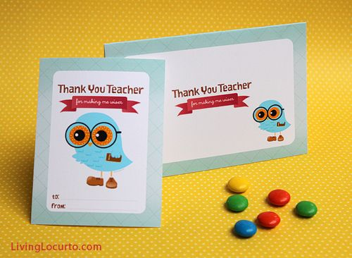 Free Printable Owl Thank You Teacher Gift Tags & Card. Design by Angeli via @Amy Locurto {LivingLocurto.com} LivingLocurto.com