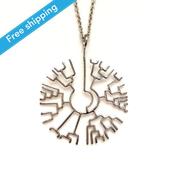science jewelry: silver phylogenetic tree by somersault1824. Check out site, there is one in gold and rose gold too