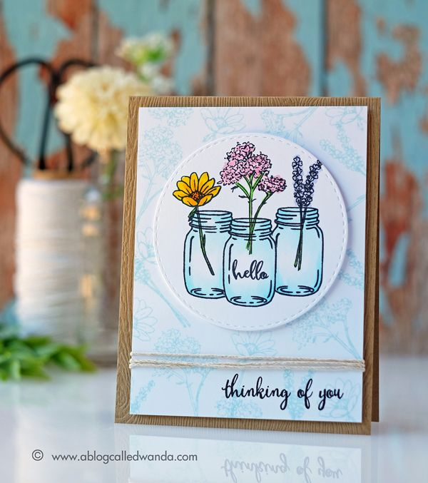 Hero Arts July card kit. Garden and flowers theme. Card by Wanda Guess