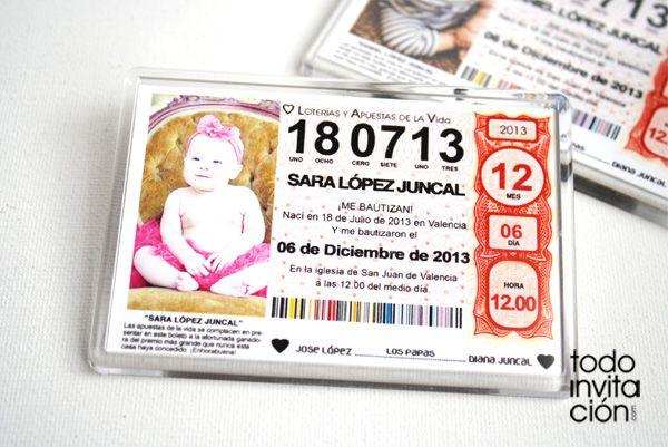 Recordatorio de Bautizo Lotería: Iman para la nevera. TODOINVITACION.COM