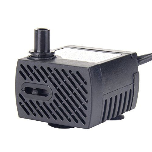 """Pawfly 80 GPH Submersible Water Pump 5 W with 6 ft Power Cord for Fountains, Aquarium, Fish Tank, Hydroponic  RELIABLE & QUIET - Designed for years of service, providing your fish with a peaceful environment.  ADJUSTABLE FLOW RATE - Easy adjustable water flow rate meets your various demands. Max Flow: 80 GPH (300 L/H), H-Max: 2.5 ft, Power: 5 W.  COMPACT & DURABLE - Measure 1.85"""" x 1.60"""" x 1.2"""" with 3 suction cup, Detachable pump head, easy to clean.  MULTI USES & SAFETY - Ideal for fr..."""