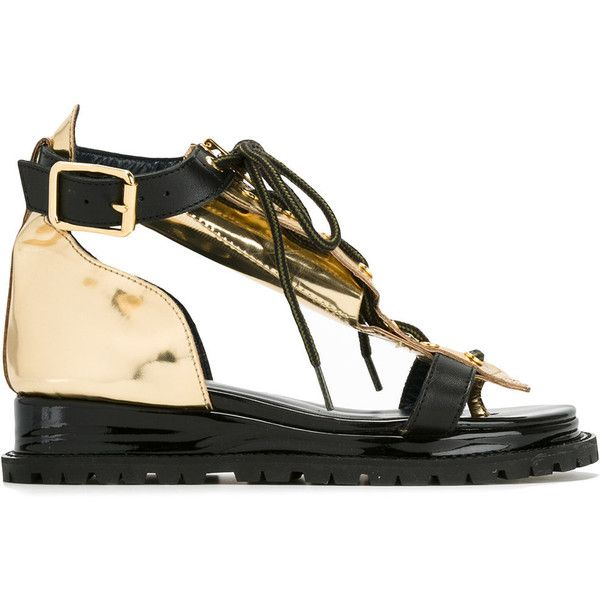 Sacai lace top sandals ($920) via Polyvore featuring shoes, sandals, black, black wedge heel sandals, low wedge shoes, low wedge sandals, black wedge shoes and black lace sandals