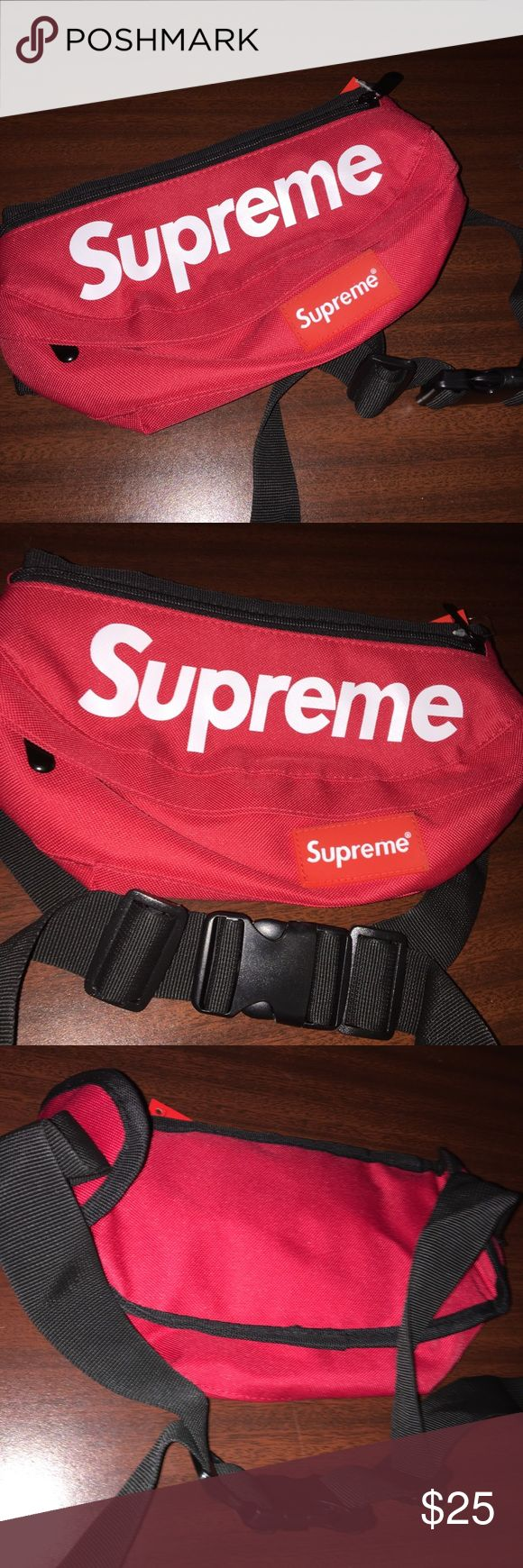 Supreme Red Fanny Pack You will be sent a Supreme Red Fanny Pack! Check my love notes for happy customers :) Nice size & good quality. Price is firm and fast shipper! Feel free to ask questions in the comments! Tags: Nike, Bape, Adidas, Yeezy, Gucci, Louis Vuitton Supreme Bags