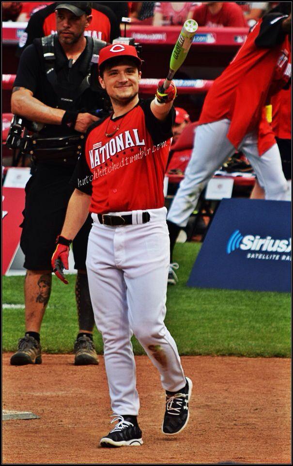 Josh Hutcherson playing in the MLB Celebrity softball game in Cincinnati Ohio. 7-12-15