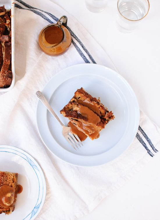 Baked French toast made with hearty whole grain bread, stuffed with banana slices and topped with a peanut butter maple sauce.