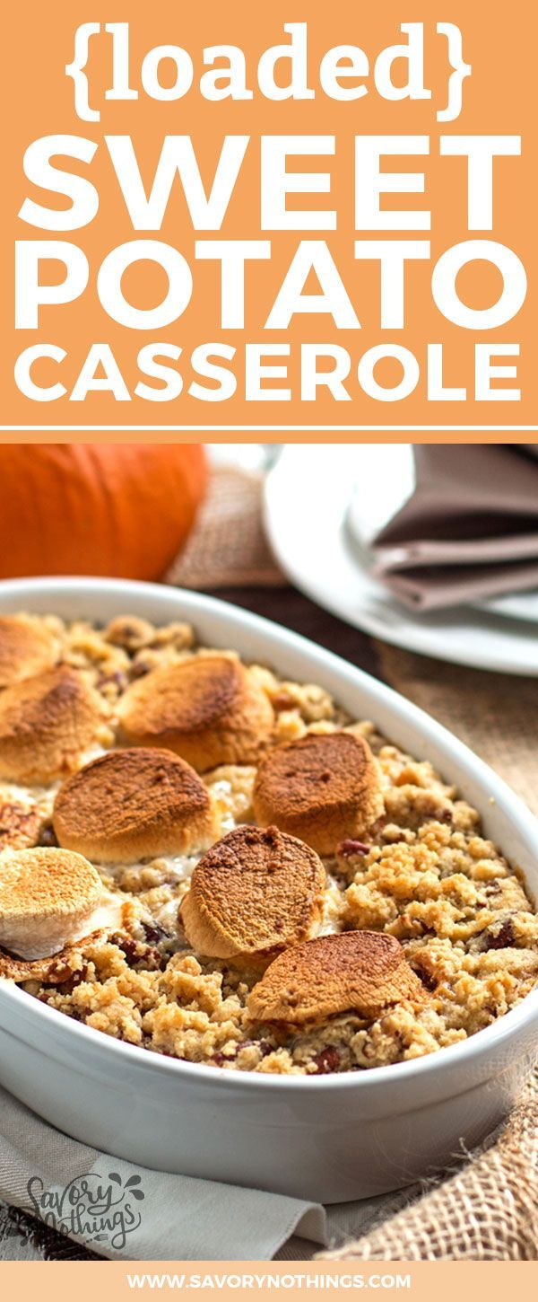 This Sweet Potato Casserole recipe is an absolute stunner! It's with both marshmallows and with a crumbly brown sugar pecan topping, making this the best Thanksgiving side dish ever! It's simple, quick and easy to whip up as it's all made in a food processor or blender before baking! And there's even a hint of maple syrup in it!