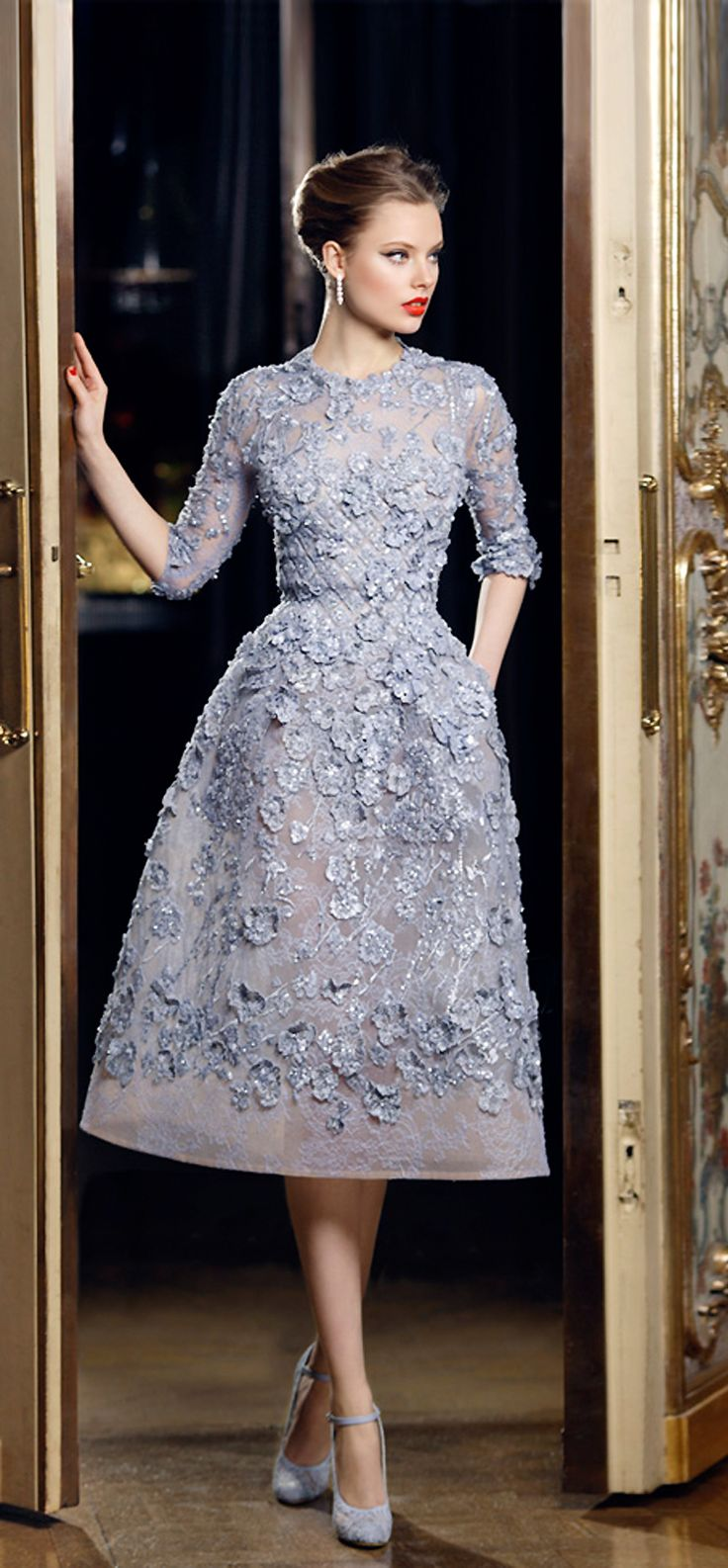 Elie Saab - Spring 2013 Couture, #Modest doesn't mean frumpy. www.ColleenHammond.com periwinkle blue floral knee length dress, belt, 3/4 length sleeves