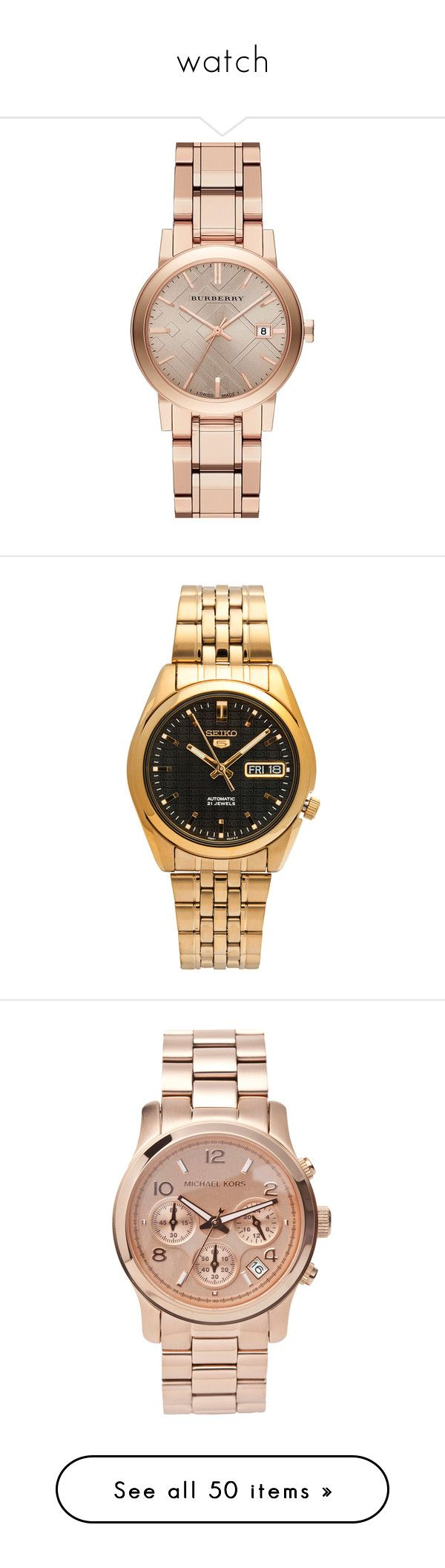 """""""watch"""" by namelif1 ❤ liked on Polyvore featuring jewelry, watches, accessories, bracelets, relojes, burberry watches, sapphire crystal watches, burberry jewelry, burberry and round watches"""