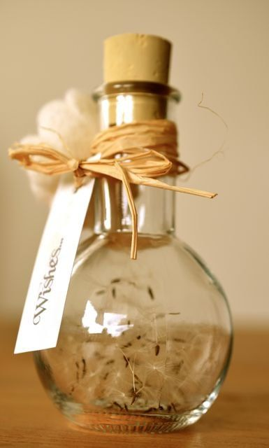 """Dandelion Wish Jar. """"What was standing here yesterday in glowing yellow,  I now found white and puffy   a sea of blowballs stand here, ready to fly  and a gentle breeze   will carry them far.  I hang my hopes on each little parachute,  so that maybe one at least  could touch your heart..."""""""