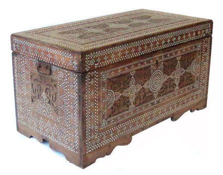 Antique Maranaw Inlaid Wood Trunk.