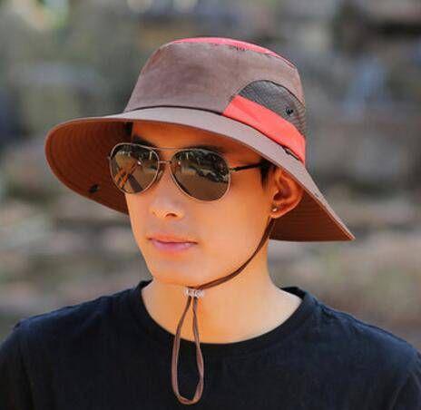 Summer uv color block bucket hat for men to climbing wide brimmed hats