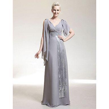 Formal Evening/Military Ball Dress Sheath/Column V-neck Floor-length Chiffon/Sequined Dress – USD $ 129.99