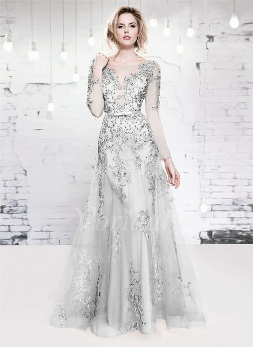 A-Line/Princess Scoop Neck Floor-Length Tulle Evening Dress With Lace Beading (0175055968)