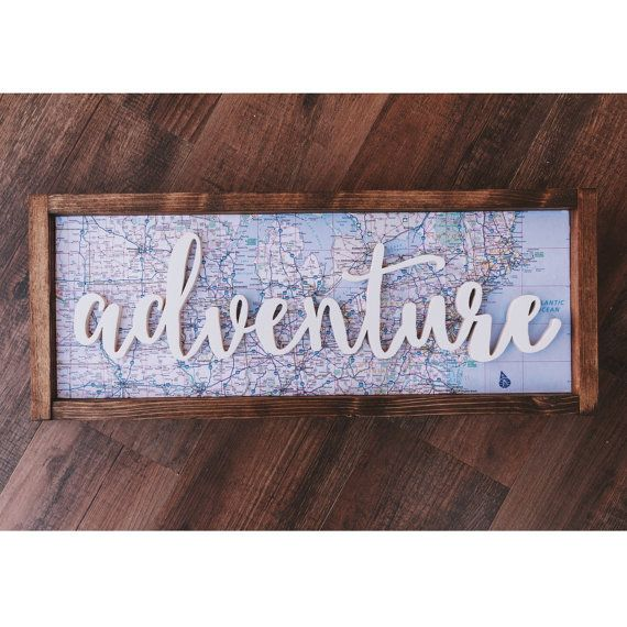 3D adventure framed wood sign<< This one of a kind beauty is 100% handcrafted! Our frames are built here in our shop, with endless stain & color possibilities (message me if you have any questions about colors!). This specific piece has a map background, which can be altered to