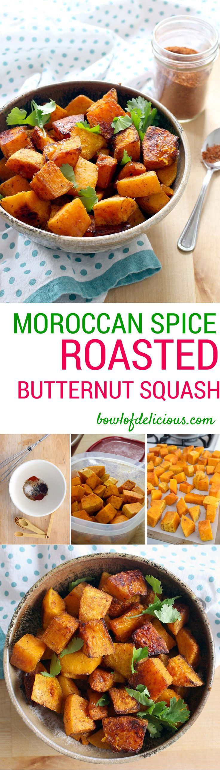 This Morrocan Spice Roasted Butternut Squash is the perfect vegetable side! It's quick, easy, and delicious from the unique Moroccan spice blend Ras el Hanout. Try making soup out of the leftovers! Gluten Free, Whole30, Paleo, Healthy, Real Food, Clean Eating