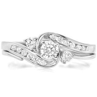 10k White Gold 1 2ct Tdw Round Cut Diamond Swirl Engagement Ring